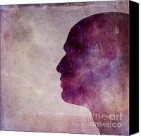 Human Being Canvas Prints - Illustration of human head. Silhouette Canvas Print by Bernard Jaubert