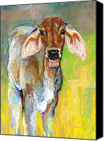 Cattle Pastels Canvas Prints - Im All Ears Canvas Print by Frances Marino