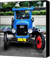 Blue Ford Canvas Prints - Im Cute - 1922 Model T Ford Canvas Print by Kaye Menner