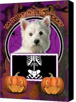 Westies Canvas Prints - Im Just a Lil Spooky Westie Canvas Print by Renae Frankz