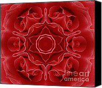 Son Canvas Prints - Imperial Red Rose Mandala Canvas Print by Zeana Romanovna