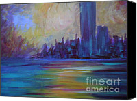 Winter Sculpture Canvas Prints - Impressionism-city And Sea Canvas Print by Soho