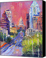 City Drawings Canvas Prints - Impressionistic Downtown Austin city painting Canvas Print by Svetlana Novikova