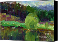 Cedar Canvas Prints - Impressionistic Oil landscape lake painting Canvas Print by Svetlana Novikova