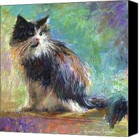 Austin Pet Artist Canvas Prints - Impressionistic Tuxedo Cat portrait Canvas Print by Svetlana Novikova