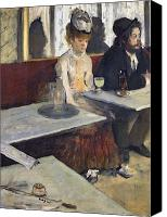 Tables Canvas Prints - In a Cafe Canvas Print by Edgar Degas