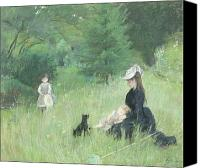 Impressionism Canvas Prints - In a Park Canvas Print by Berthe Morisot