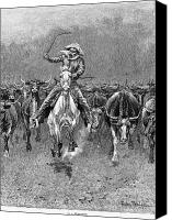 Remington Canvas Prints - In A Stampede Canvas Print by Granger