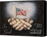 American Flag Pastels Canvas Prints - In God We Trust Canvas Print by Heidi Dwyer