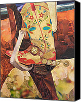Cowboy Mixed Media Canvas Prints - In Her Favorite Boots She Can Take On The World Canvas Print by Robin Birrell