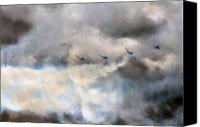 Extra 300 Canvas Prints - In One Smoking  Row Canvas Print by Angel  Tarantella