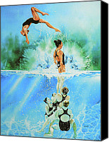 Action Sports Art Painting Canvas Prints - In Sync Canvas Print by Hanne Lore Koehler