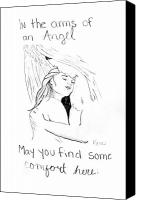 Embrace Drawings Canvas Prints - In the arms of an angel Canvas Print by Rebecca Wood