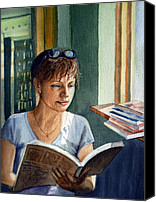 Reading Painting Canvas Prints - In The Book Store Canvas Print by Irina Sztukowski