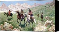 Slopes Painting Canvas Prints - In the Cheyenne Country Canvas Print by John Hauser