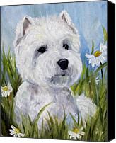 Westies Canvas Prints - In the Daisies Canvas Print by Mary Sparrow Smith