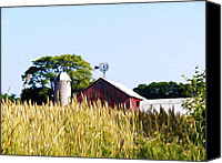 Barn Digital Art Canvas Prints - In the Farmers Field Canvas Print by Bill Cannon