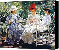Girls Pastels Canvas Prints - In the Garden 1890 Canvas Print by Stefan Kuhn