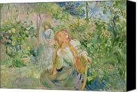 Le Jardin Canvas Prints - In the Garden at Roche Plate Canvas Print by Berthe Morisot
