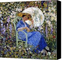 Fresco Canvas Prints - In the Garden Canvas Print by Frederick Carl Frieseke