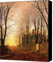 Manor Painting Canvas Prints - In the Golden Olden Time Canvas Print by John Atkinson Grimshaw