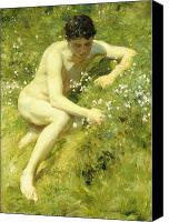 Signature Canvas Prints - In the Meadow Canvas Print by Henry Scott Tuke