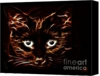 Kitten Greeting Card Digital Art Canvas Prints - In the Shadows Canvas Print by Denise Oldridge
