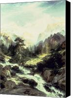 White River Scene Canvas Prints - In the Teton Range Canvas Print by Thomas Moran