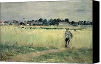 1875 Canvas Prints - In the Wheatfield at Gennevilliers Canvas Print by Berthe Morisot
