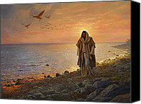Shore Painting Canvas Prints - In the World Not of the World Canvas Print by Greg Olsen