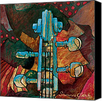 Classical Musical Art Canvas Prints - In Tune - String Instrument Scroll in Blue Canvas Print by Susanne Clark