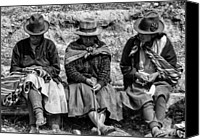 School Yard Canvas Prints - Inca Mothers at school Canvas Print by Mark Coran