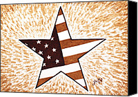 Independence Day Painting Canvas Prints - Independence Day Star USA Flag coffee painting Canvas Print by Georgeta  Blanaru