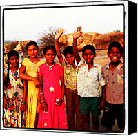 Children Photo Canvas Prints - #india #children #colourful #hampi Canvas Print by Dave Frost