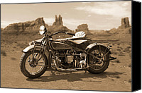 Cycle Canvas Prints - Indian 4 Sidecar Canvas Print by Mike McGlothlen