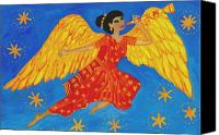 Sue Burgess Canvas Prints - Indian angel messenger Canvas Print by Sushila Burgess