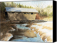 Bridge Pastels Canvas Prints - Indian Creek Covered Bridge Canvas Print by James Clewell