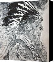 Native American Reliefs Canvas Prints - Indian Etching Print Canvas Print by Lisa Stanley