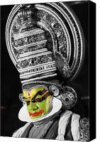Suburban Canvas Prints - Indian Kathakali Dance Of Kerela 3 Canvas Print by Sumit Mehndiratta