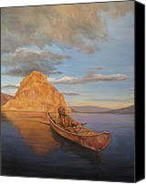 Indian Canoe Canvas Prints - Indian on Lake Pyramid Canvas Print by Donna Tucker