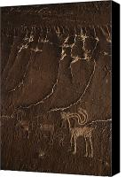 Mountain Sculpture Photo Canvas Prints - Indian Petroglyph Depicting Mountain Canvas Print by Paul Chesley