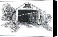 Indiana Drawings Canvas Prints - Indiana Covered Bridge 1896 Canvas Print by Robert Birkenes