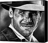Indiana Drawings Canvas Prints - Indiana Jones Canvas Print by Rick Fortson