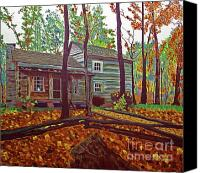 Log Cabins Canvas Prints - Indiana Uplands Log Cabin Canvas Print by Rich Walter