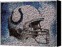 Bottle Caps Canvas Prints - Indianapolis Colts Bottle Cap Mosaic Canvas Print by Paul Van Scott