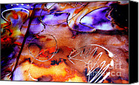 Modern Abstract Art Tapestries - Textiles Canvas Prints - Indigo Brown Orange Yellow and Silver  Canvas Print by Alexandra Jordankova