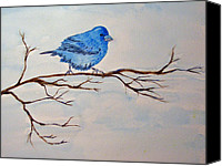 Bunting Painting Canvas Prints - Indigo Bunting Canvas Print by Carol Bruno