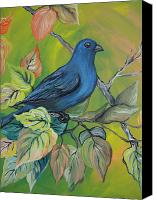 Bunting Painting Canvas Prints - Indigo Bunting Canvas Print by Leslie Manley
