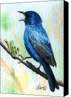 Bunting Painting Canvas Prints - Indigo Bunting Canvas Print by Lynn Quinn