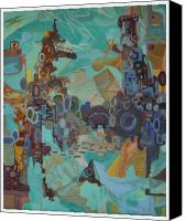 Egg Tempera Canvas Prints - Industrialism Canvas Print by Julie Koski